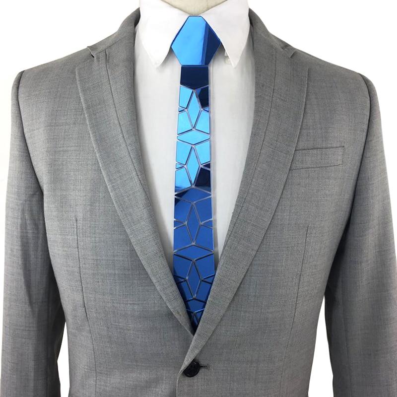 New Arrival Plexiglass Mirror Blue Fashion Necktie Men Women Plaid Slim For Wedding Business Men Gift