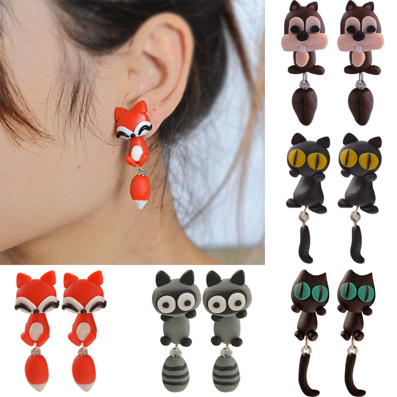 New 100% Handmade Polymer Clay Animal Earrings Cute Cat Red Fox Lovely Pand..