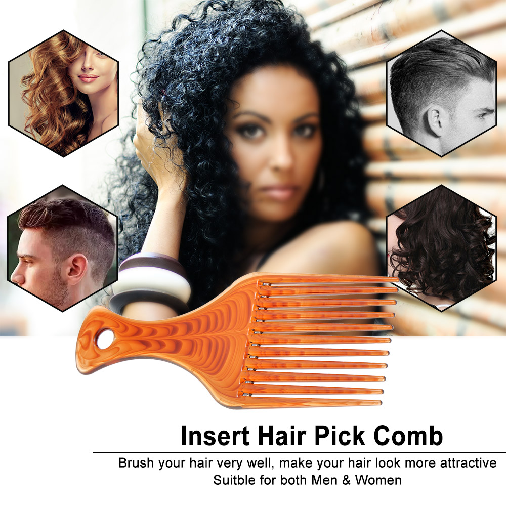 3Pcs Afro Hair Comb Hair Fork Comb Insert Hairdressing Curly Hair Brush Comb Hairbrush Styling Tool for Men & Women Black 2
