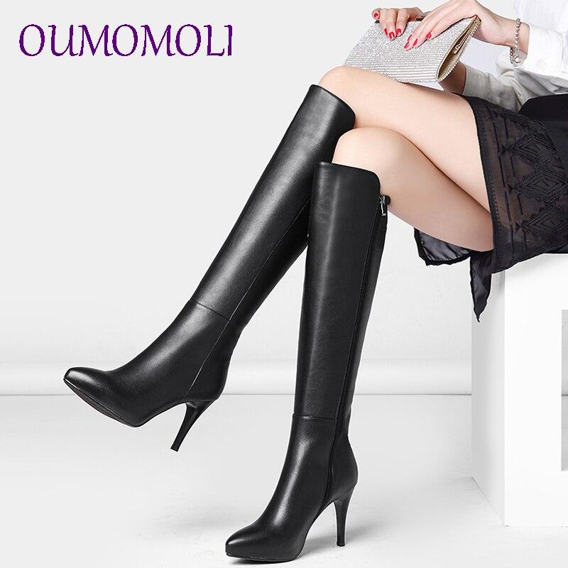 Mujer punta dedo del pie botas altas de invierno de cuero