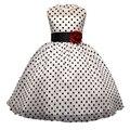 Nuevo Diseño al por menor Rosa de lunares Niña de las Flores Comunión Vestidos Niños Prom Partido de Tarde Del Vestido de Los Niños de La Princesa Boda Del Vestido Del Tutú