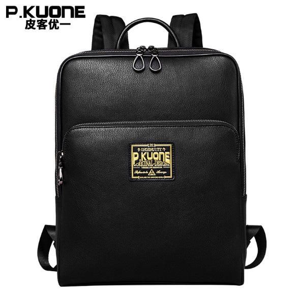 P.KUONE 14 Inch Laptop Bag Men Fashion Cowhide Leather Backpack Male Shoulder Bag Teenager simple business Casual computer Bac lowepro protactic 450 aw backpack rain professional slr for two cameras bag shoulder camera bag dslr 15 inch laptop