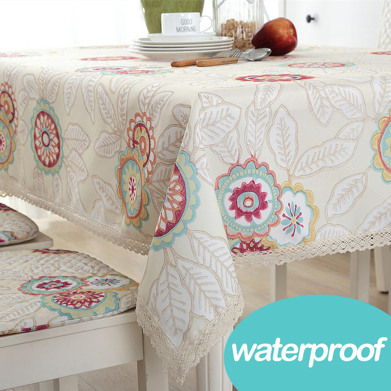 Round dinning table flower waterproof oilskin beige cotton oilcloth tablecloth table cover wedding square floral fabric