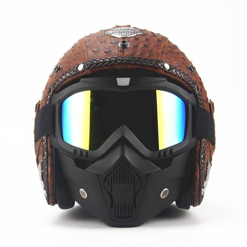 Mens Motorcycle Vintage helmets Retro Scooter 3/4 helmet Moto casco Goggles Mask woman female motorbike MOTO helmets