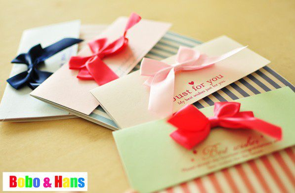 New fashion bowknot stripe style envelope  letter card / birthday