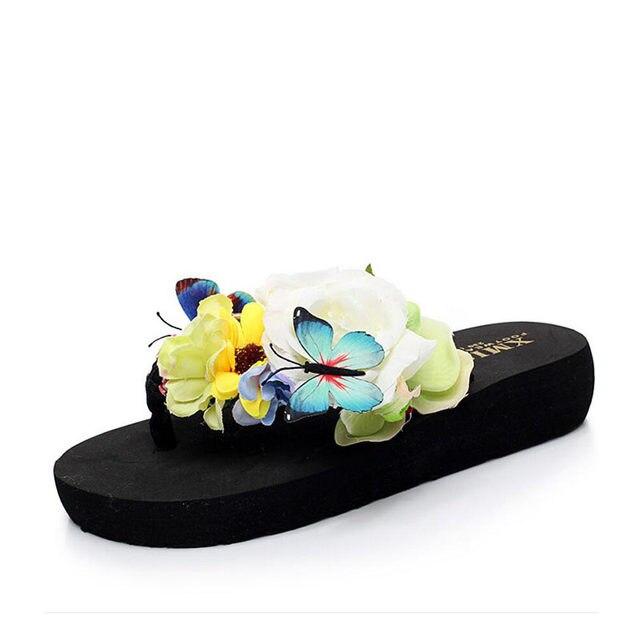 Ashwin Fashion Women Sandals Fancy Beach Flip Flops Summer Flower Erfly Slipper Seaside Shoes Wedding Walking