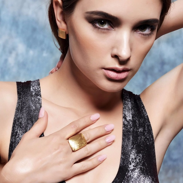 Gold or Silver Plated GB Geometric Party Ring
