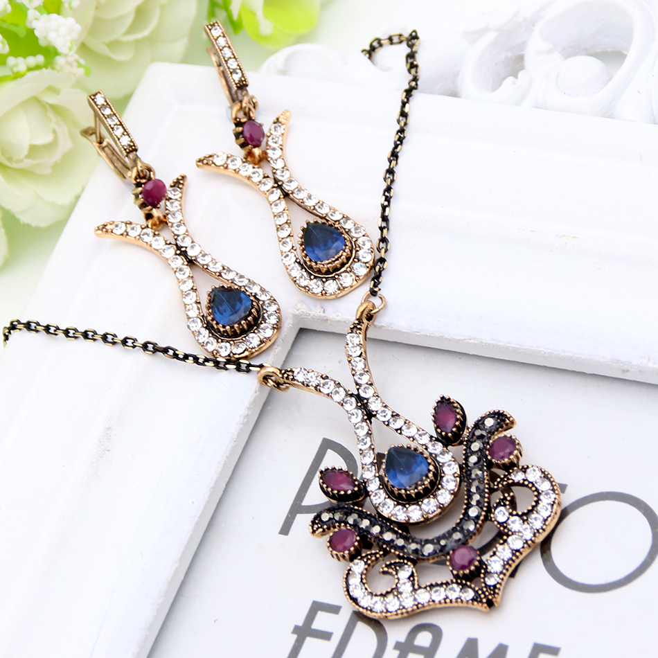 Antique Gold Plating Turkish Flower Heart Jewelry Sets Sapphire Women Crystal Earrings&Necklace Indian Vintage Bijoux Party Gift