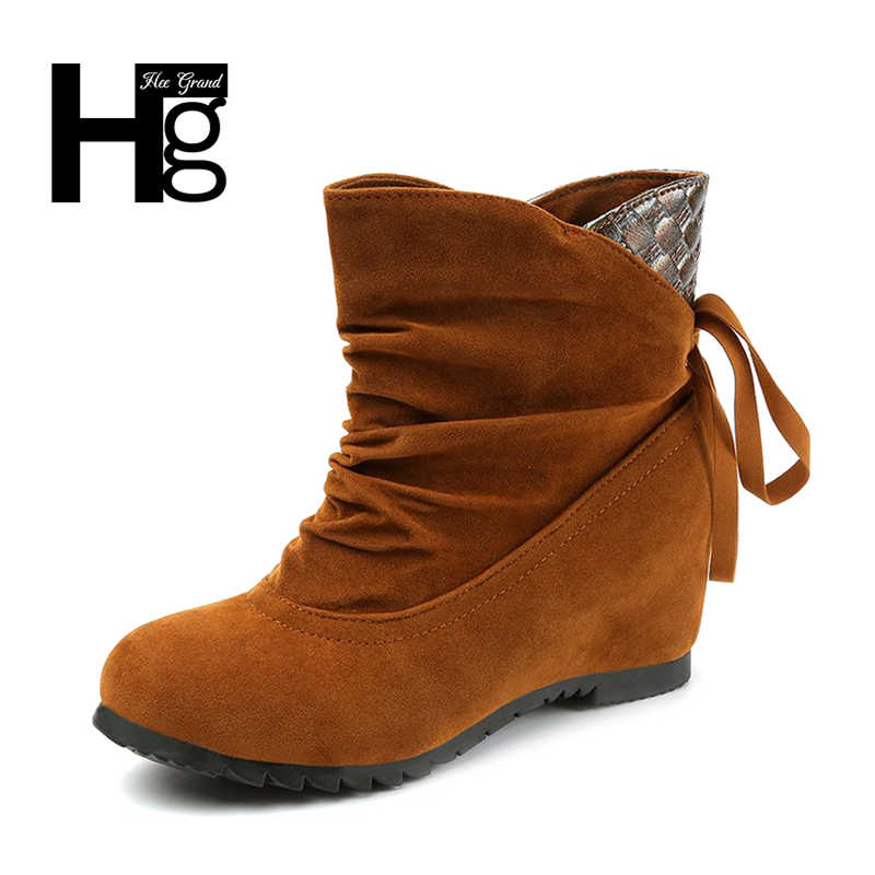 4e0a4d3bee5 HEE GRAND Autumn Flock Fringe Women Boots Warm Platform Lace up Student  Shoes Flock Girl Black Western Winter Shoes XWX6294