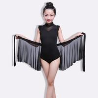 Black 2pcs Sets Girl Latin Dance Dress For Girls Ballroom Dancing Dress Girl Competition Dancewear Kids