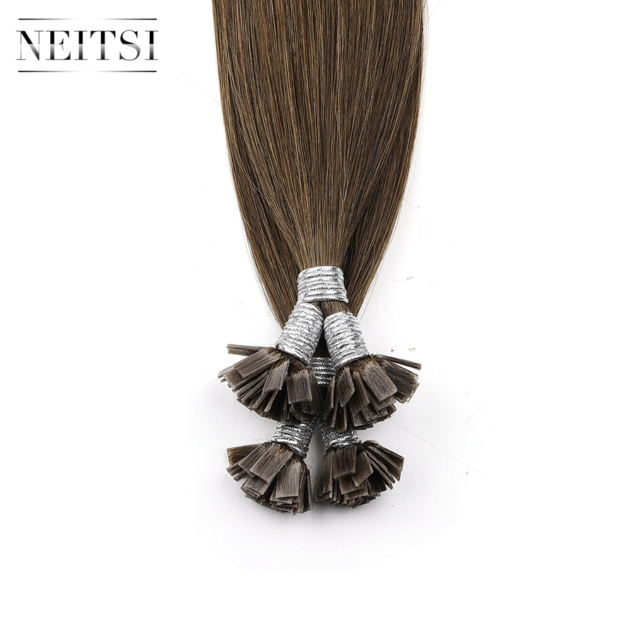 """Neitsi Machine Made Remy Flat Tip Human Hair Extensions 0.9g/s 22"""" 1.0g/s 26"""" Straight Capsules Keratin Pre Bonded Hair"""