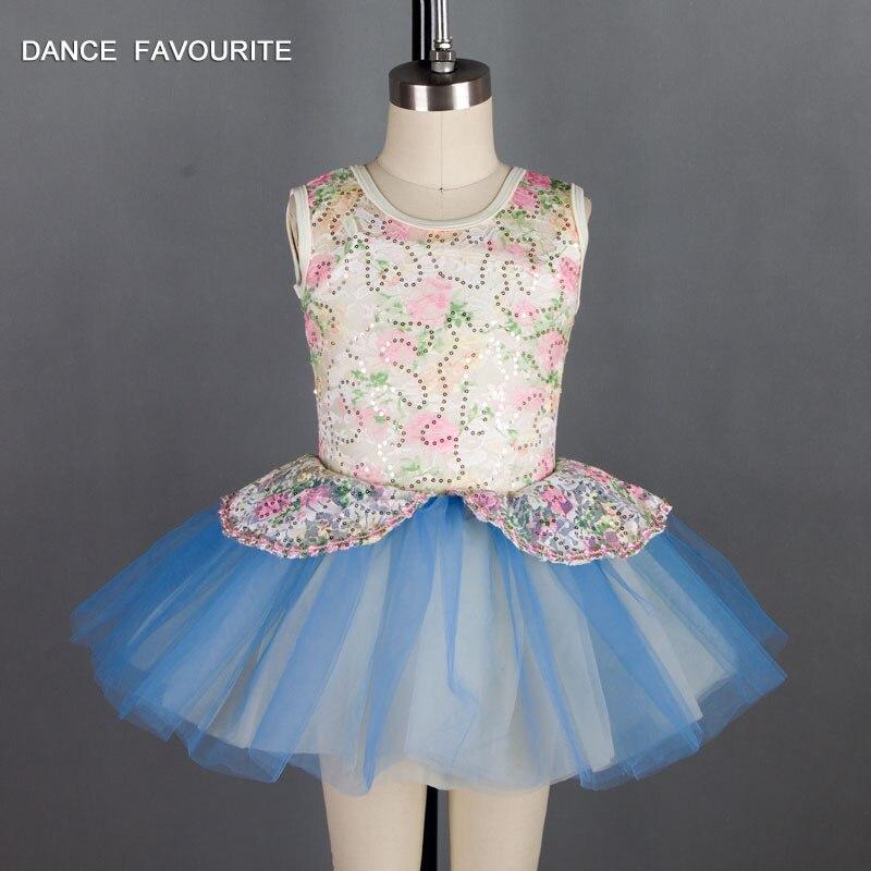New white sequin lace bodice kid dance costume ballet tutu girl stage performance ballet tutu ballerina dance costumes