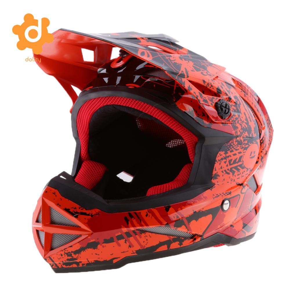 Motorbike Dirt Bike Cycling Full-Face Motorcycle Helmet (Orange) - Choose Size