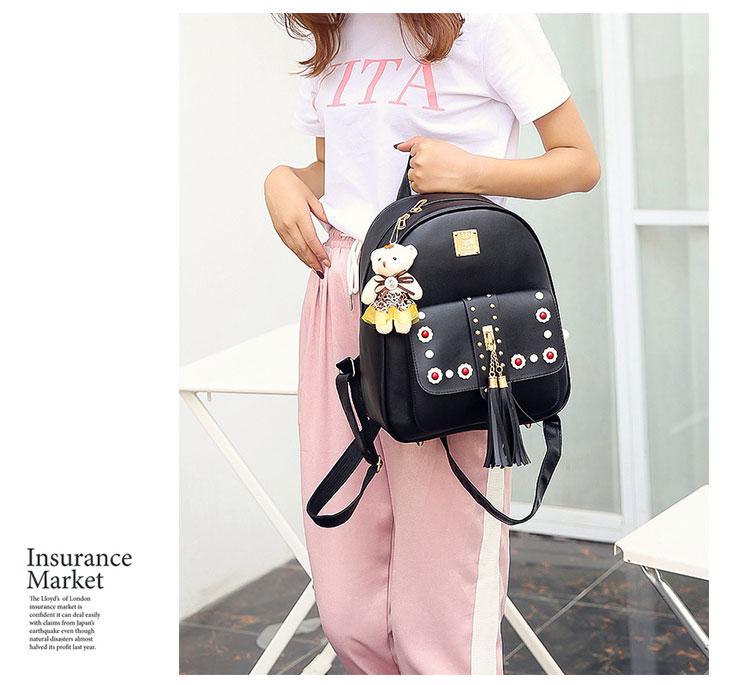 Backpack Female 3 Piece Combination Composite Bag Bear Hanging Inlaid Imitation Diamond Tassel Fashion Casual Shoulder Bag 59