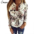 Autumn Fashion Bomber Jackets Coats Women Flower Print Women Slim Basic Coats Outwear New Style jaqueta feminina White QL2674