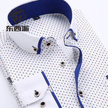 2018 Formal Business Dress Shirts Long Sleeve Turn-down Collar Men Polka Dot Printed Single Breasted Cotton High Quality Shirts men long sleeve solid color pure cotton oxford shirts vestido high quality single breasted turn down collar shirts cloth spring