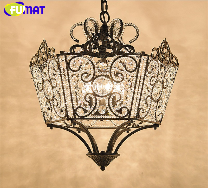 FUMAT Crystal K9 Pendant Lamps Anchor Crown Form Lights Iron Flower Crystal Clear Gold Black Lighting Body hanging light fixture 5