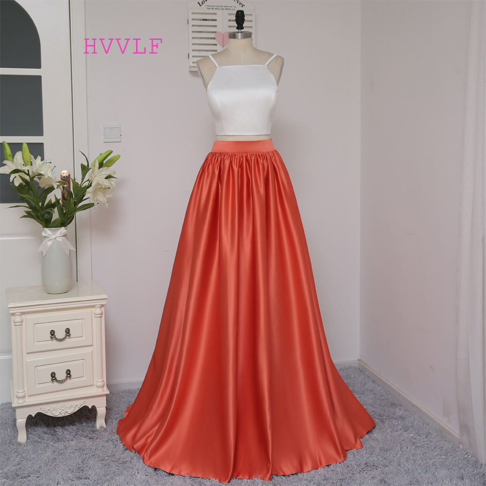 New 2018 Formal Celebrity Dresses A line Spaghetti Straps Two Pieces White Red Two Pieces Famous Red Carpet Dresses