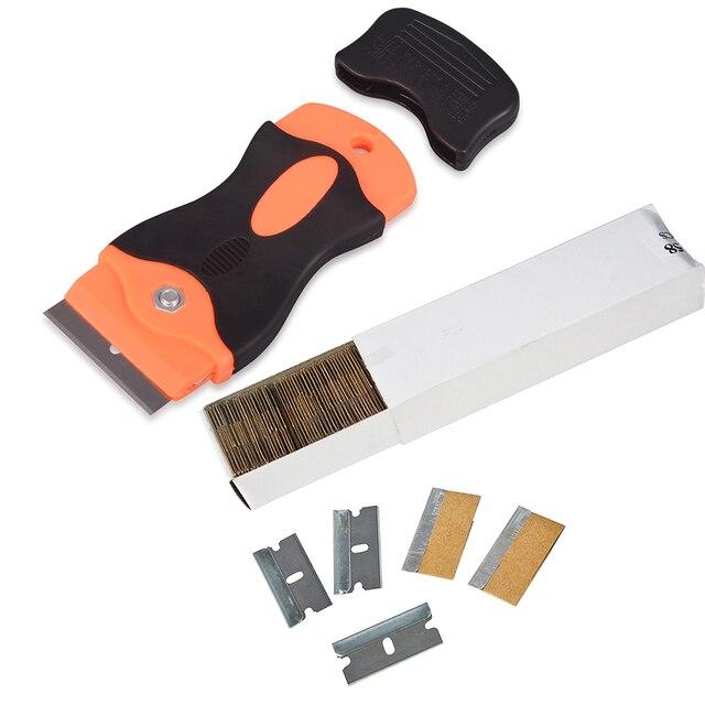 EHDIS Razor Scraper With 100pcs Carbon Steel Blades Window Glass Decal Sticker Glue Remover Vinyl Car Film Wrap Tint Clean Tools