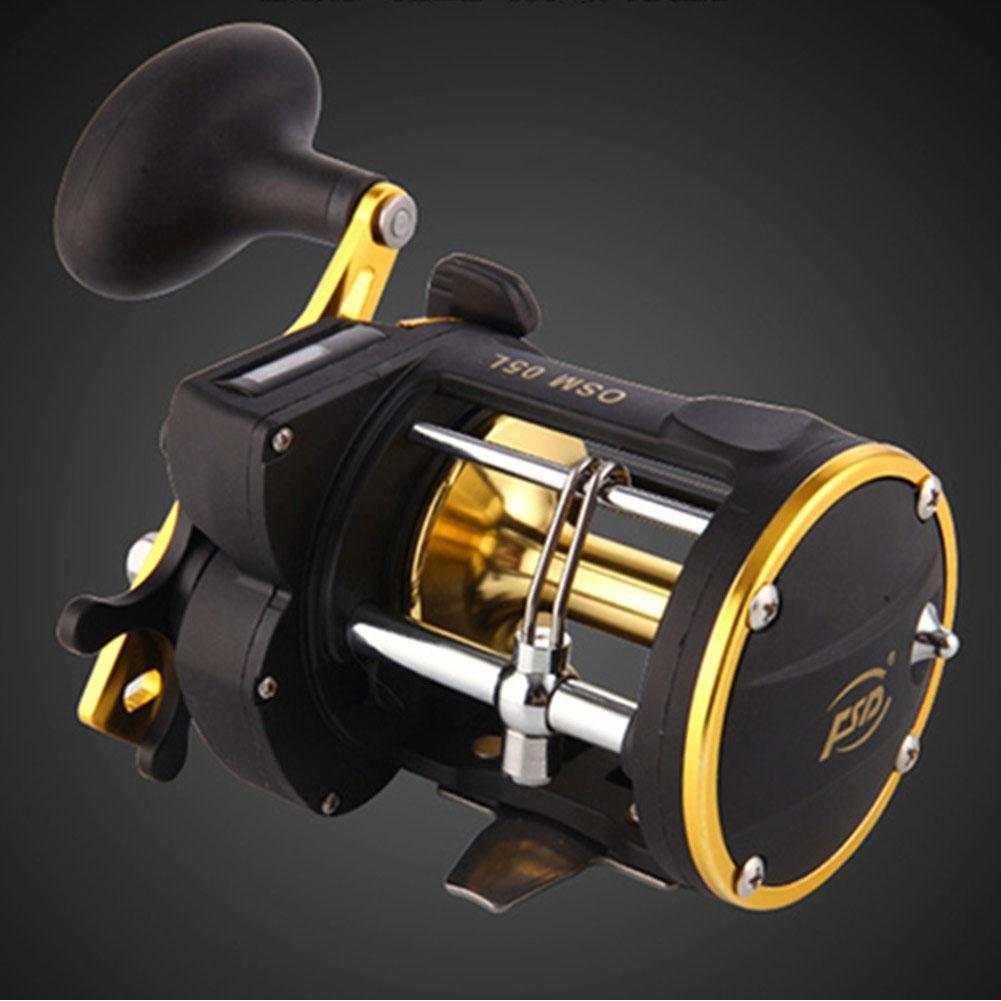 2+1 6.0:1 Right handed Counter Alarm Bell Spinning Reel Drum Fishing Vessel Trolling Boat Plate Baitcast Wheel