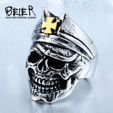 BEIER 316L Hot Sell Ring 316LStainless Steel Winged Gold Cross Punk Skull Jewelry BR8-423(China)