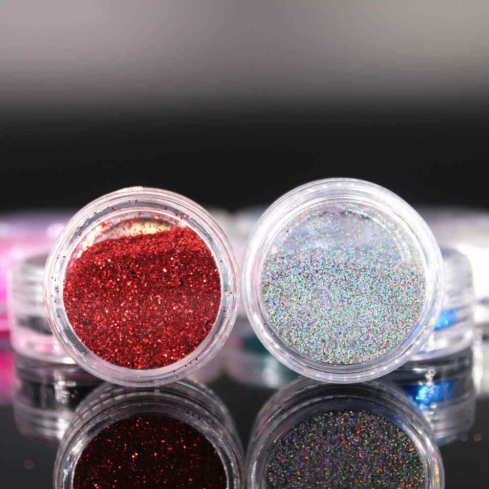 Kawaii 12 renk Glitter tırnak sanat toz Tool Kit akrilik Gem lehçe tırnak araçları 3D Nail Art süslemeleri parlak tırnak tozu