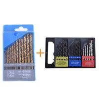 Flexsteel 16PCS Twist Wood Masonry Metal Combination Drill Bit Set Brocas Kit 13PCS HSS Titanium Twist