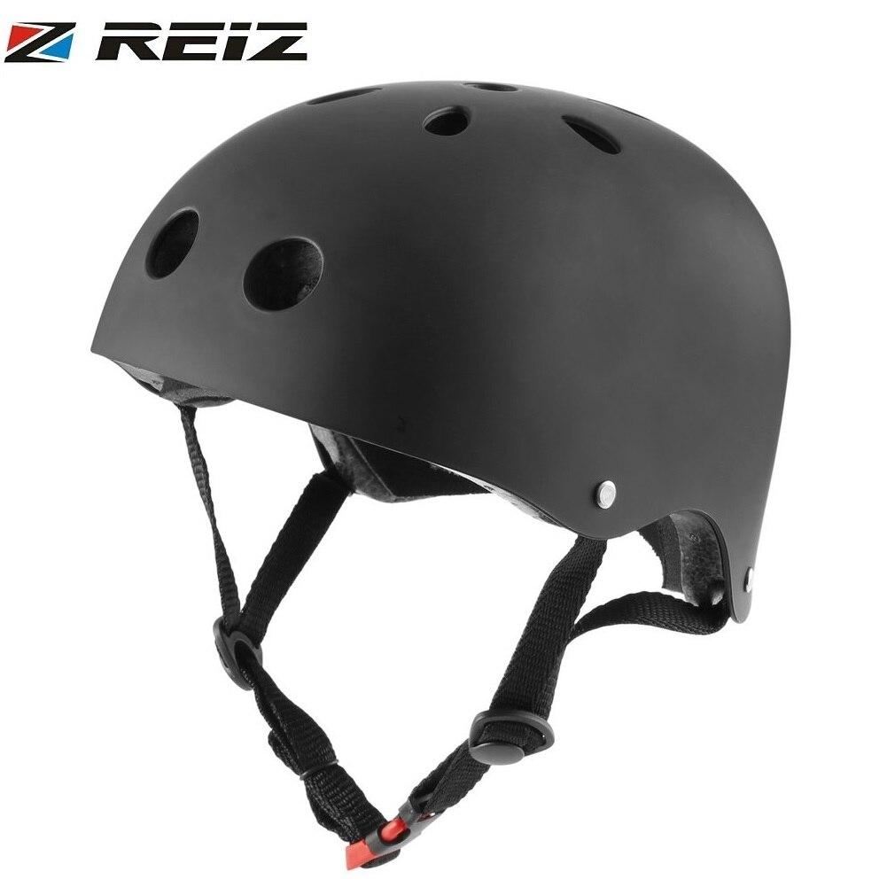 все цены на REIZ Hip-hop Boy Helmet Professional Outdoor Sport Skateboard Skating Helmet Children Bicycle Helmet Protection for Kids Adults онлайн
