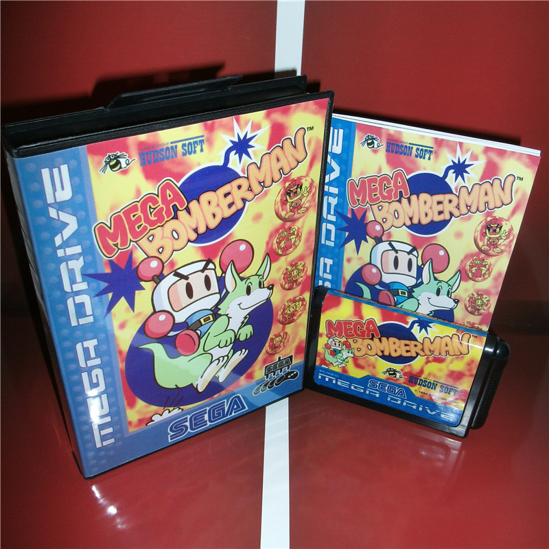 Mega Bomberman EU Cover with box and manual For Sega Megadrive Genesis Video Game Console 16 bit card