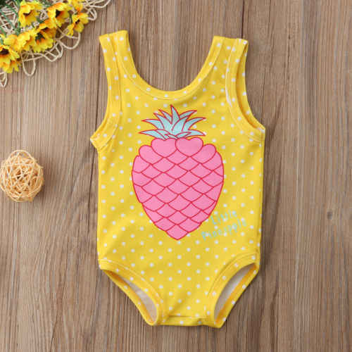 da6977be00 Summer Toddler Cute Baby Girl Pineapple Polka Dot One-Piece Suits Yellow Swimwear  Swimsuit Bathing