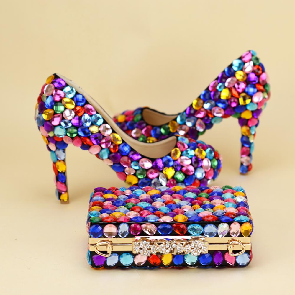Multicolor big cyrstal wedding shoes with matching bags woman fashion shoes women Pumps High heels Party
