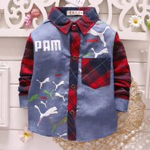 2016 Autumn Fashion Shirts For Boys Cotton Plaid Unisex Boys Shirts Blouses Casual Regular Shirt Blouses For School Girls ss023