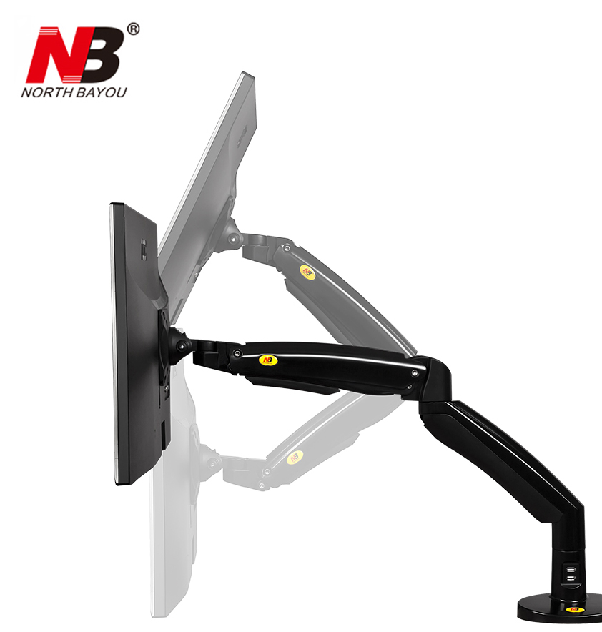 NB F100A Gas Spring Arm 22-35 inch Screen Monitor Holder 360 Rotate Tilt Swivel Desktop Monitor Mount Arm with Two USB Ports 2017 new nb f180 gas spring full motion 17 27 dual screen monitor holder desktop clamping grommet tv mount with two usb ports