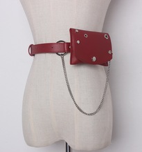 New Women Waist Bags Imitation Leather Belt Wallet Solid Color Fashion Ladies Bag With Chain European Style