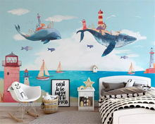 beibehang Custom size wall paper Nordic creative watercolor Mediterranean childrens room boy girl classic background wallpaper