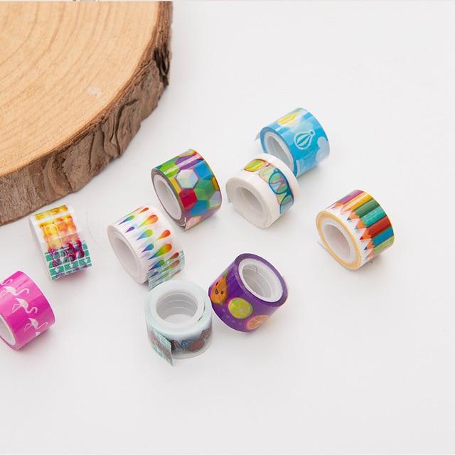 (10 pieces/lot) Kawaii Mini Cartoon Tape DIY Scrapbooking Sticker Label Masking Tape Decorative Adhesive Tape for Kids 3