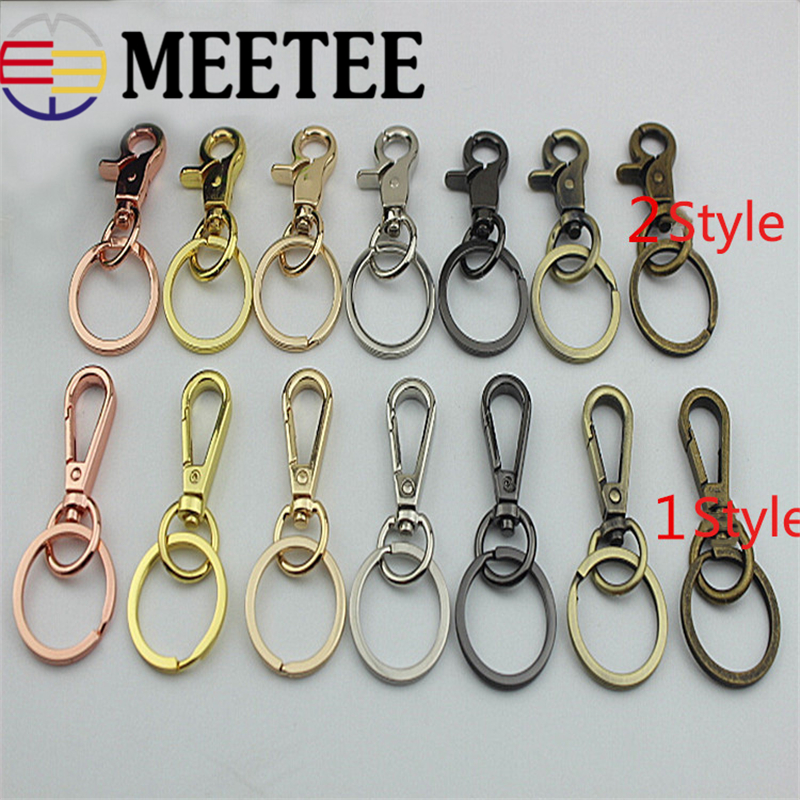 4pcs Meetee Metal Swivel Lobster Dog Clasp Clips Buckle Keychain Car Key Ring Snap Hook Pompom Luggage Bag