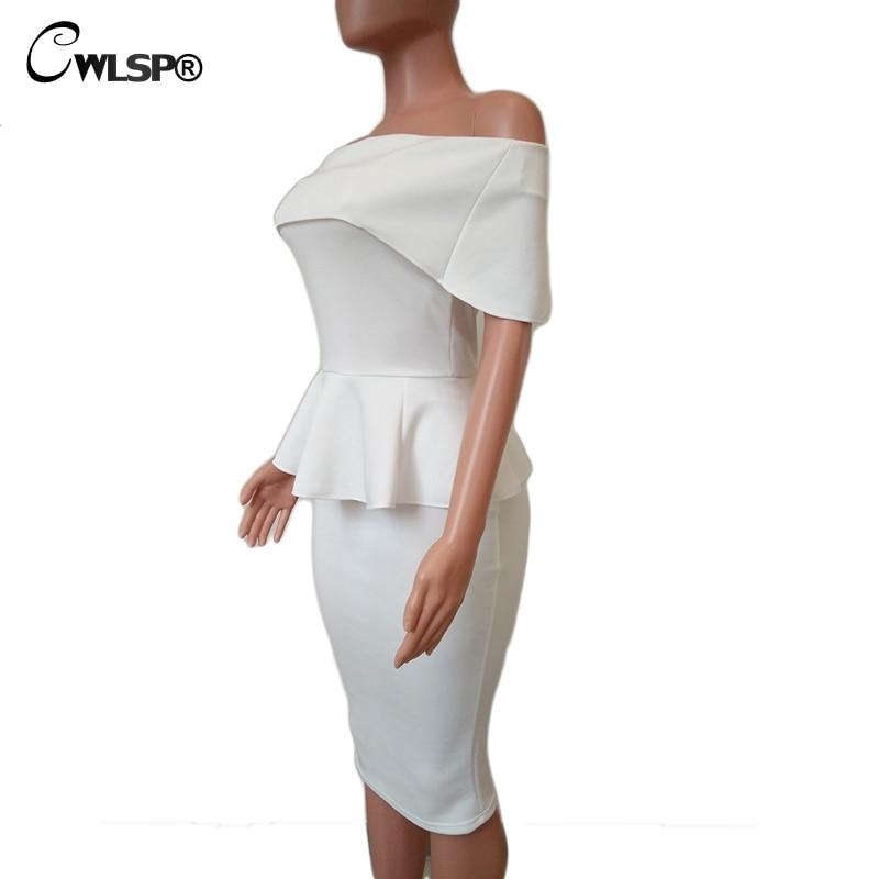 CWLSP Off Bahu Novelty Jubah Elegan Musim Panas Partai Wanita Pensil - Pakaian Wanita - Foto 5