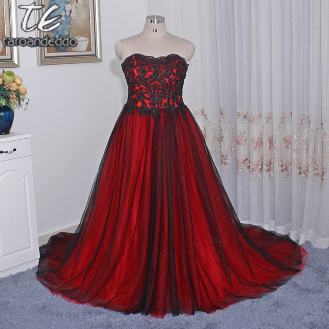 83221f8c07 Gothic Wedding Dress with Color Sweetheart Lace Up Back Long Black Red Plus  Size Bridal Dresses robe de soiree vestido longo