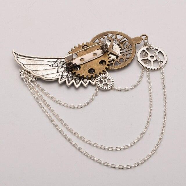 Стимпанк заколка крылья с шестерёнками в ассортименте 3