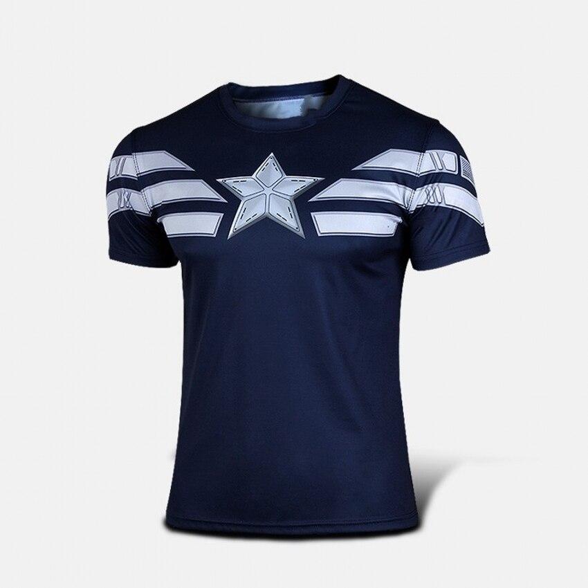 New 2017 Comic Superhero Compression Shirt Captain America Iron man Fit Tight G ym Bodybuilding T Shirt