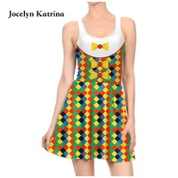 Jocelyn Katrina Print Dresses 3D Printed Sexy Club Dress High Quality Pleated Sports Tennis Dress For