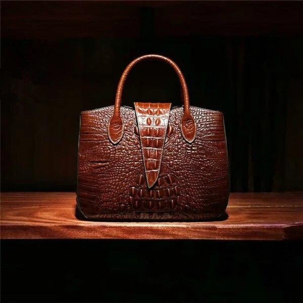 Bagaj ve Çantalar'ten Üstten Saplı Çanta'de Fantezi Timsah Tasarımcı Bayan Büyük Çanta Hakiki Inek Deri omuzdan askili çanta Kadın Çanta Timsah Desen kadın Taşınabilir Çanta'da  Grup 3
