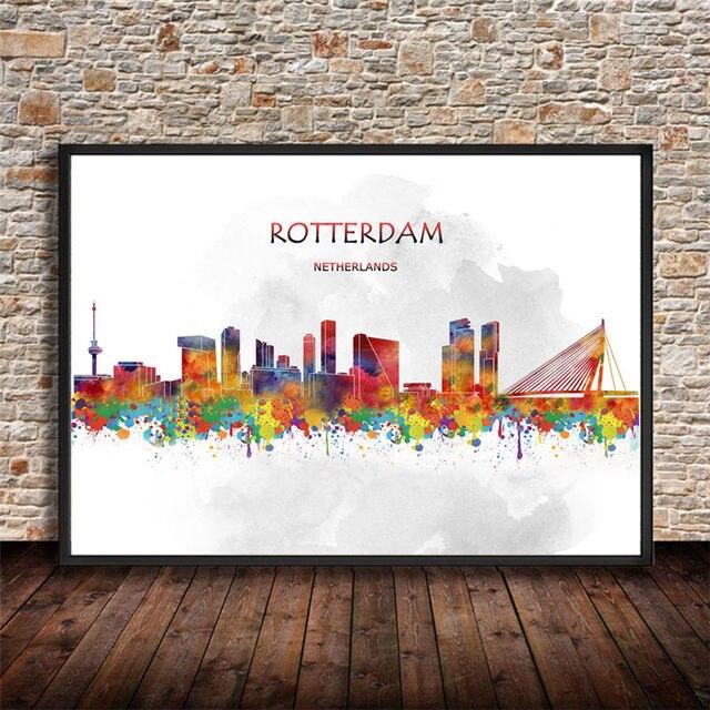 Muurstickers Winkel Rotterdam.Abstracte Aquarel Stad Canvas Schilderen Rotterdam Nederland Print