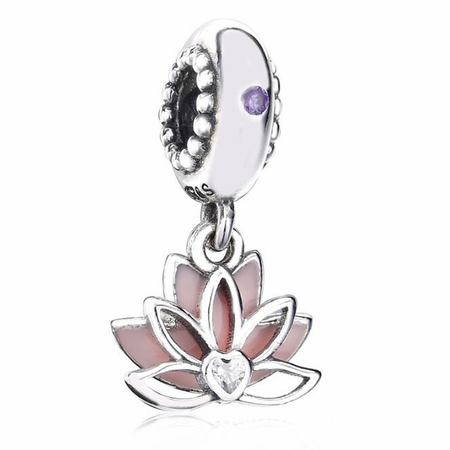 72a7d4158 2018 Mother Day 925 Sterling Silver Bead Serene Lotus Flower Dangle Charm  Fit Pandora Bracelet Women Jewelry Accessories