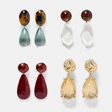Girlgo 25 Type ZA Resin Water Drop Earrings For Women Colorful Crystal Dangle Earrings Trendy Maxi Statement Valentine's Jewelry
