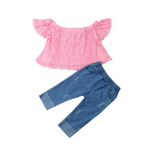 6M-4Y Toddler Newborn Baby Girls Clothing Set Lace T shirts + Denim Pants Outfits Girls Costumes Summer Clothes sale toddler girls clothing set 2018 autumn new fashion sports suit outfits baby girls clothes lace white blouses shirts pants