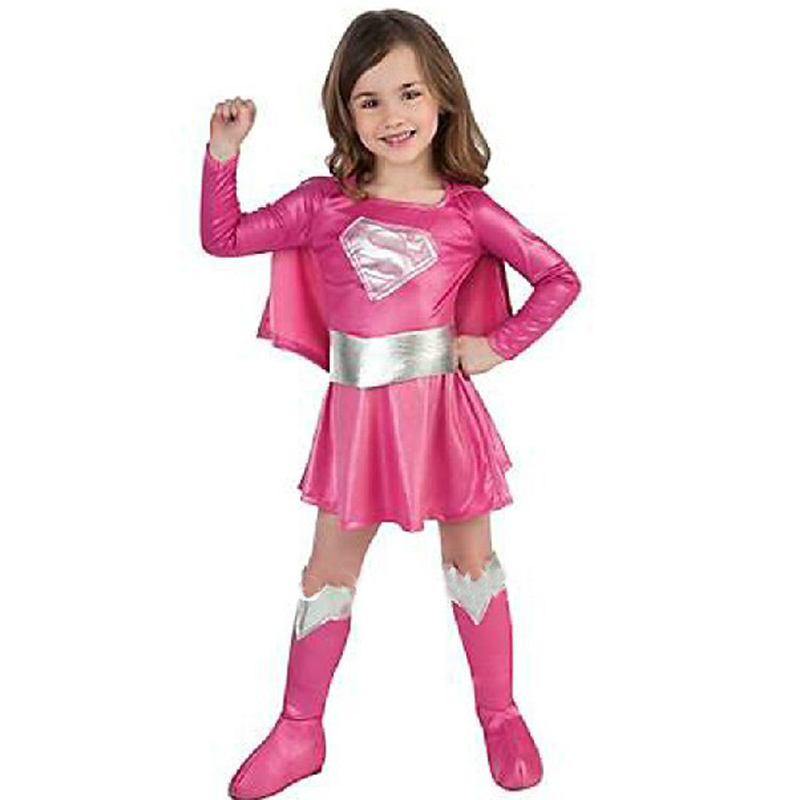 Free shipping ,children hot pink superman girl dress,halloween cosplay party super hero superman costume with cape,boots,belt .