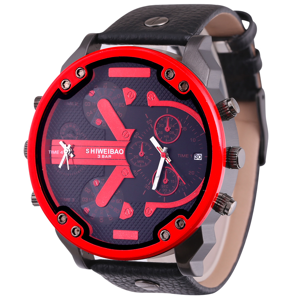 top luxury dz style mens watches cool quartz watch for men black leather strap dual time zones male clock (4)