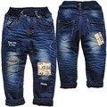 3964 calças de brim do bebê inverno meninos Double-deck quente Grossa de lã e calças de jeans denim bebê crianças moda azul marinho nova